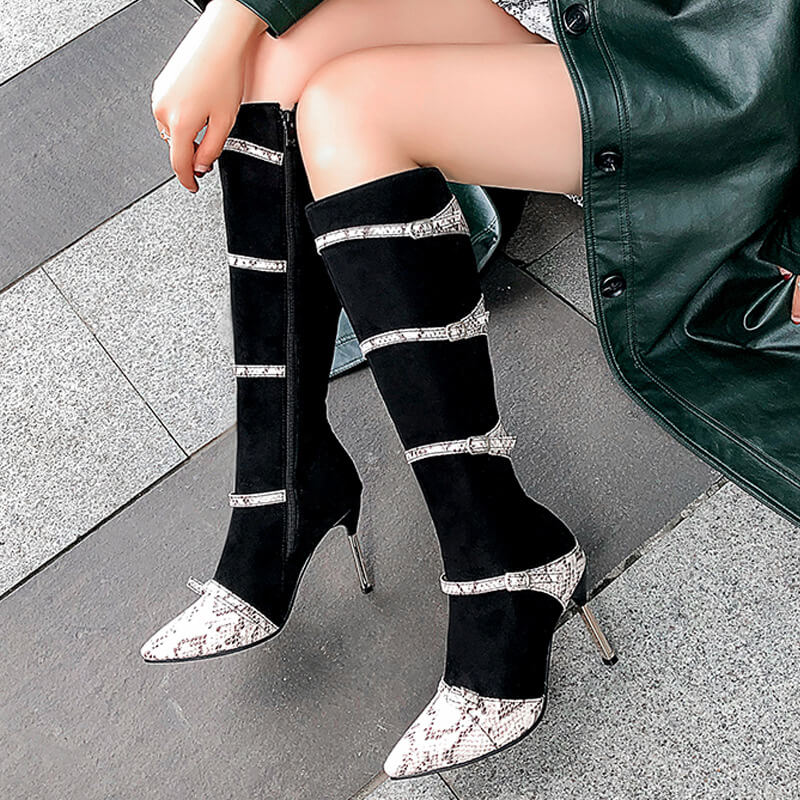 Snakeskin Leather High Heel Patchwork Knee High Boots