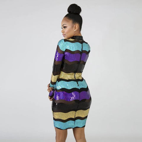 Sequin Colorblock Sheer Bodycon Long Sleeve Dress