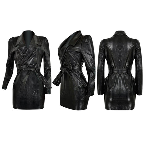 Faux Leather Alligator Moto Dress
