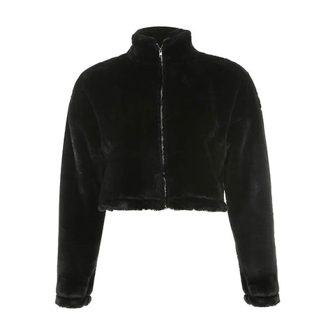 Black Faux Fur Zipper Jacket