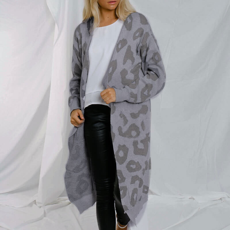 Leopard Colorblock Knit Long Cardigan Sweater