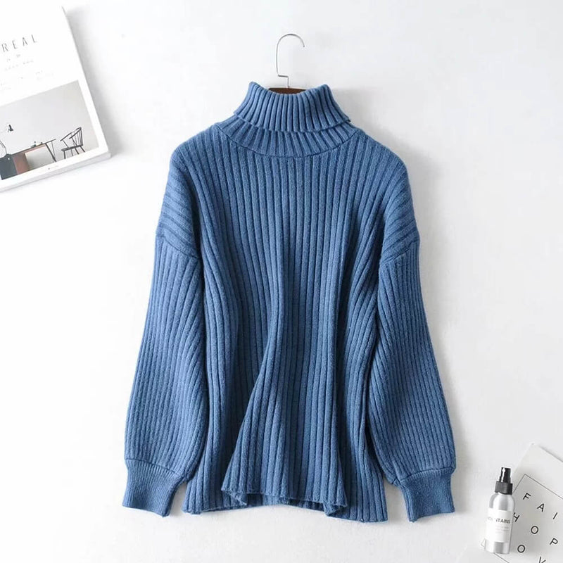 Turtleneck Balloon Sleeve Ribbed Pullover Sweater