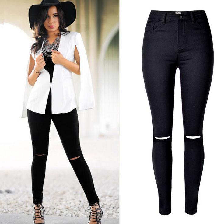 High Waist Elastic Slim Holes Stylish Jeans - Meet Yours Fashion - 1