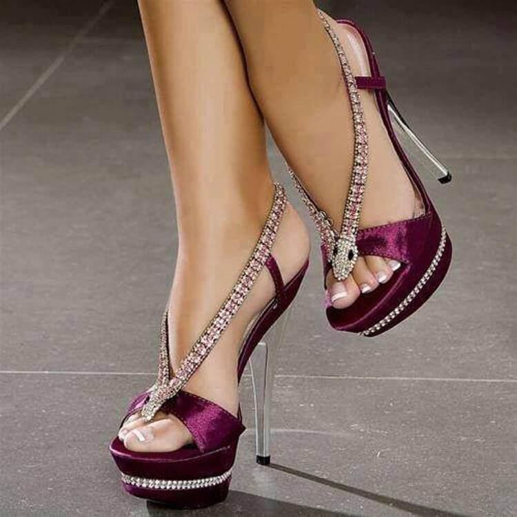 Rhinestone Platform Open Toe High Heel Sandals