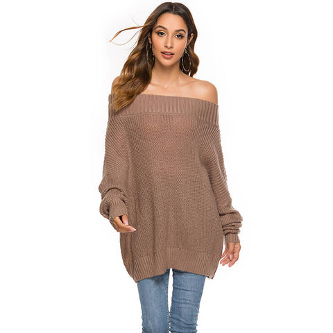 Off Shoulder Pure Color Batwing Sweater