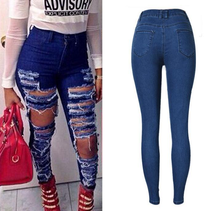 Ripped Beggar Street Straight Elastic Slim Plus Size Jeans - Meet Yours Fashion - 5