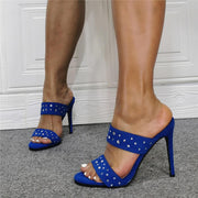 Blue Suede Rhinestone Open Toe High Heel Sandals