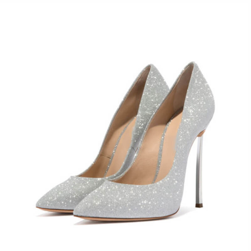 Sexy Leather Sequin Pointed Toe Wedding Pumps
