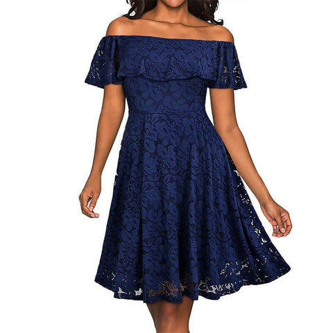 Off Shoulder Hollow Out Lace Dress