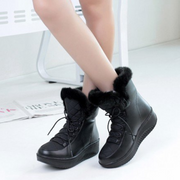 Warm Fur Leather Flat Ankle Boots