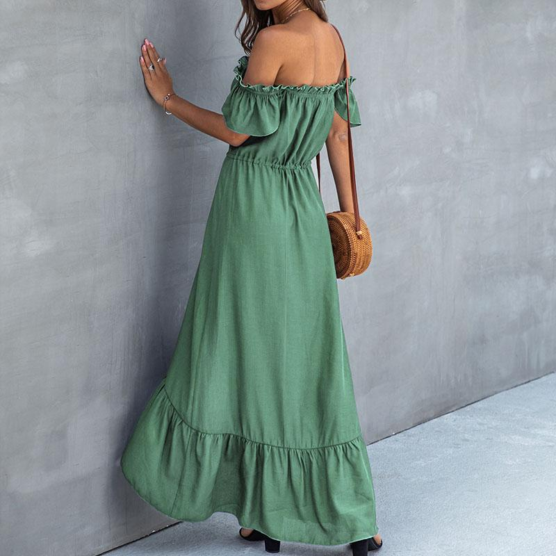 Off Shoulder Low High Soild Long Dress