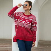 Reindeer Jacquard Christmas Knit Sweater
