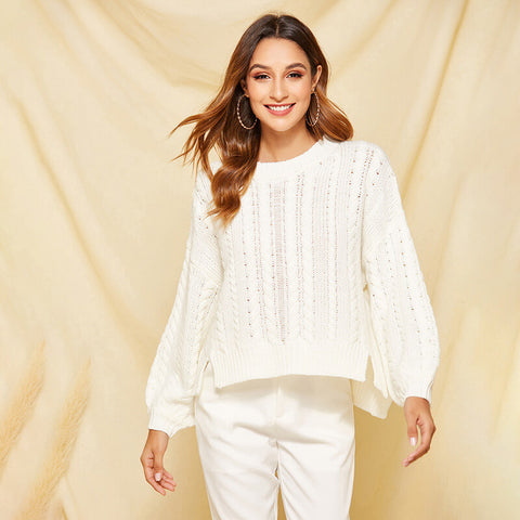 White Hollow Balloon Sleeve Pullover Sweater