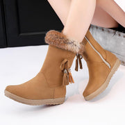 Winter Fur Flat Fringe Mid Calf Boots