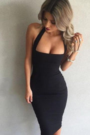 Halter Straps Bodycon Pure Color Knee-length Dress