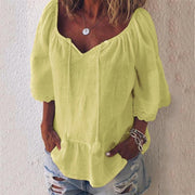 Big V-neck Loose Short Sleeves T-shirt