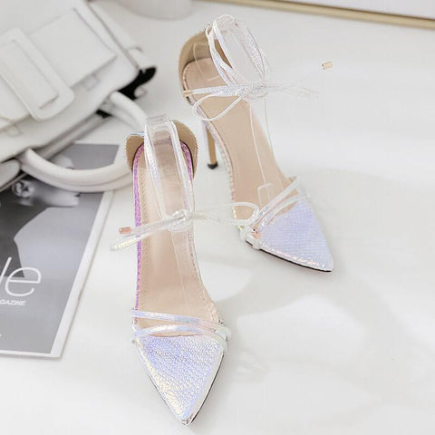 Silver Strappy Ankle  Pointed Toe Metallic Sandals