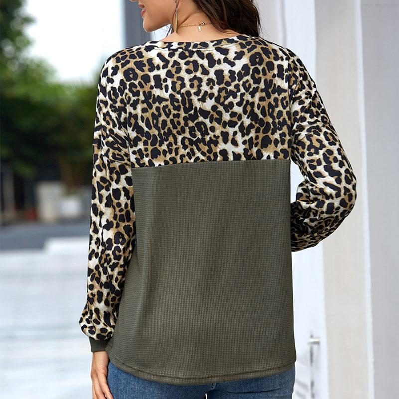 Leopard Splice Pullover Top