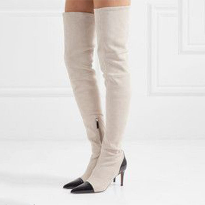 Sexy White Colorblock Pointed Toe High Heel Thigh High Boots