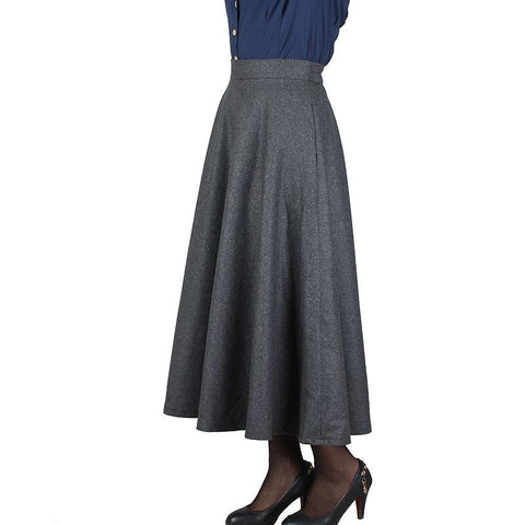Woolen Plaid High Waist A-line Long Skirt
