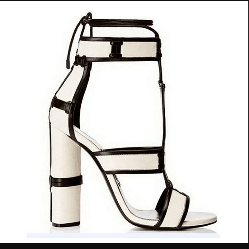 High Heel Chunky Heel Buckle Lace Up  Sandals