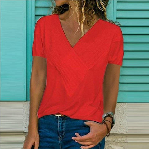 Loose V-neck T-shirt
