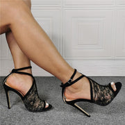 Sexy Black Lace Open Toe High Heel Sandals