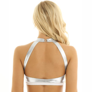 PU Mesh Stitching Open Back Bra Top