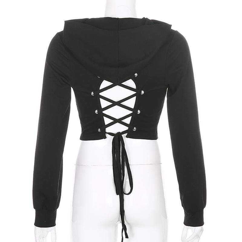 Open back Lace Up Hoodie
