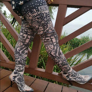 Rhinestone High Heel Transparent Toe Printed Thigh High Boots