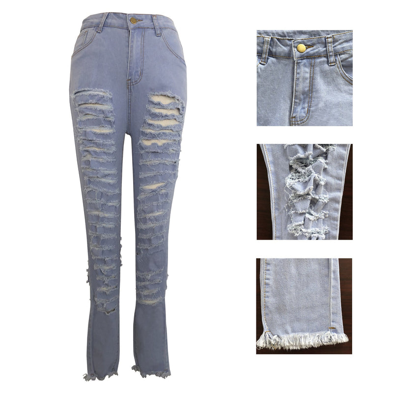 Hip Holes Cut Out Long Pencil Denim Pants Jeans
