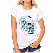 Print Skull Scoop Short Sleeves Regular T-shirt