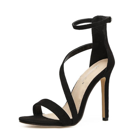 Black Strappy Ankle Pointed Toe Sandals
