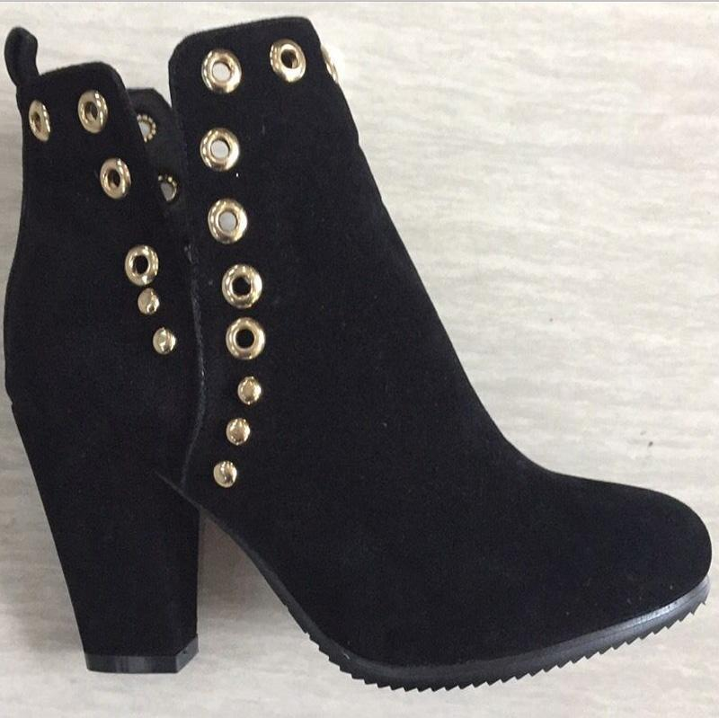 Black High Chunky Heel Round Toe Ankle Boots