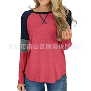 Patchwork Loose Regular Scoop T-shirt