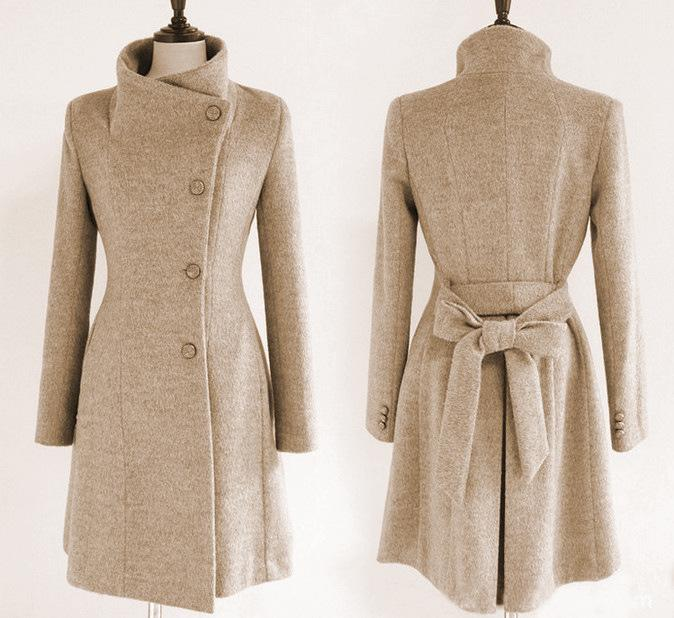 Slim Bowknot Sash Worsted Trench Coat