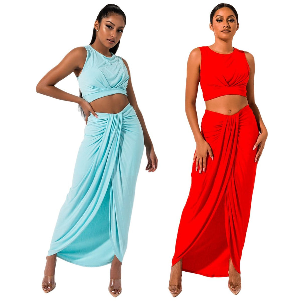 Bandage Crop Top with Irregular Long Skirt Club Dress Set