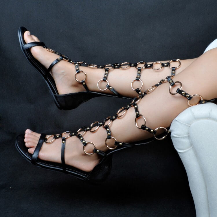 Black Flat Buckle Knee High Gladiator Sandals