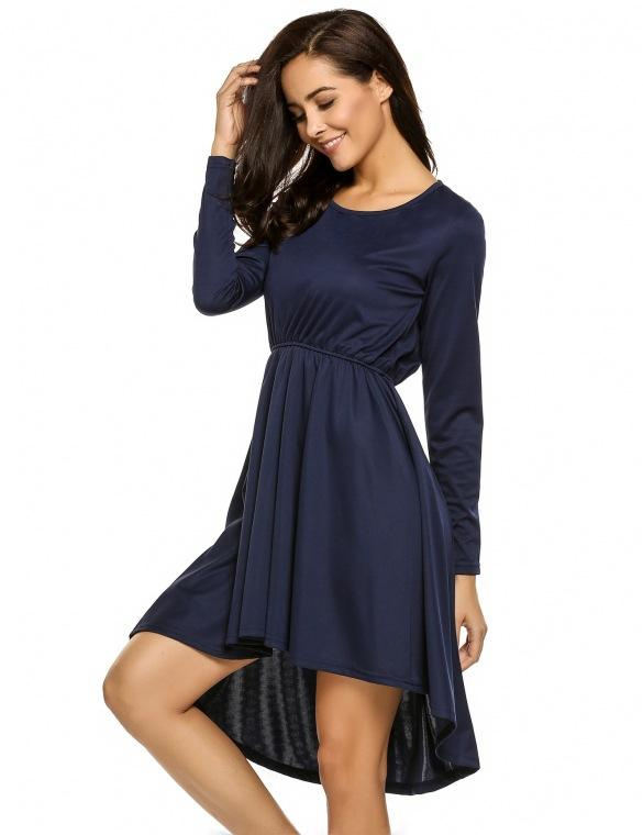 Pure Color Round neck Long Sleeves  Irregular  Party Dress