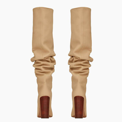 PU Point Toe Fold High Heel Knee High Boots