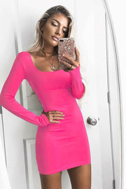 Pure Color Big Scoop Long Sleeves Big Scoop Short Dress