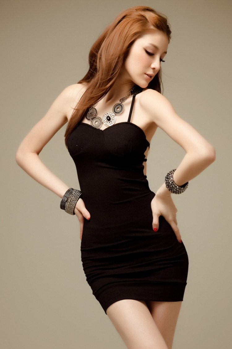 Spaghetti Strap Crocheting Hollow Out Short Bodycon Dress