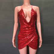 Deep V Neck Sling Sequins Dress