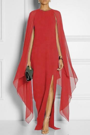 Bright Candy Color Long Batwing Sleeves Split Long Chiffon Dress