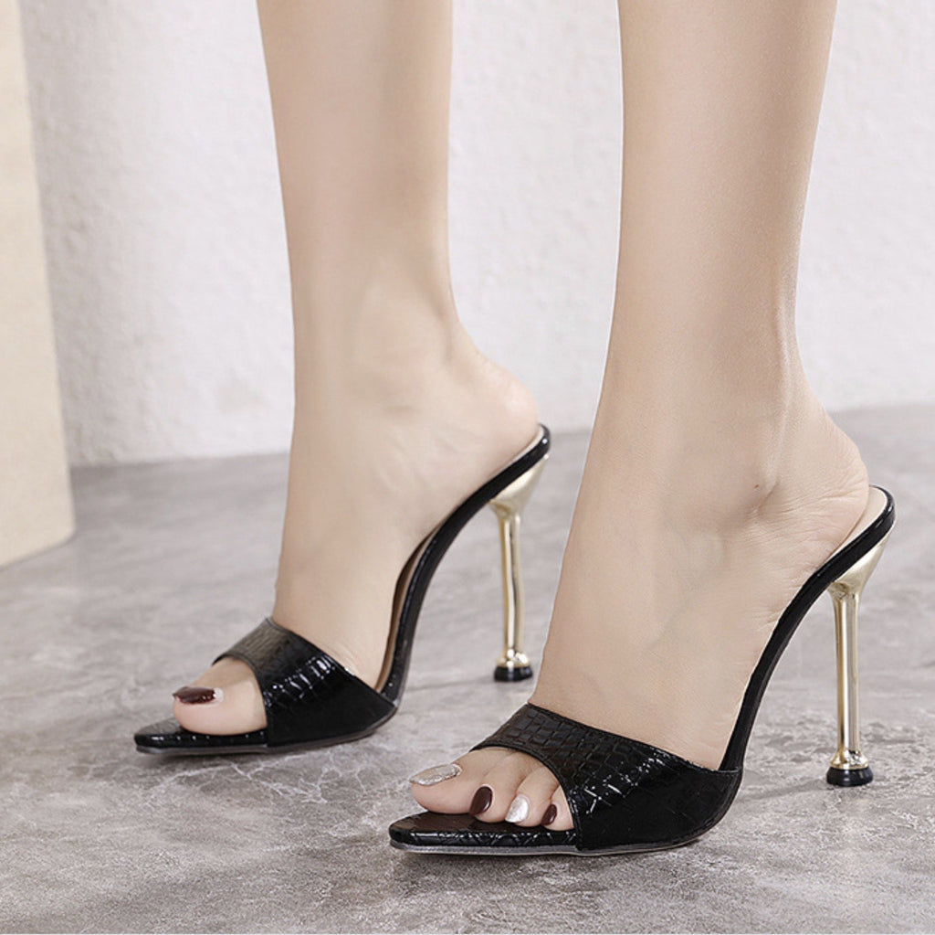 Women's Metal High Heel Pointed Serpentine Sandals