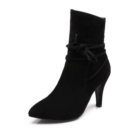 Pointed Toe Strap Lace Up Stiletto Middle Heel Short Boots