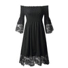 Off Shoulder Lace Hem Smocking Short Dress