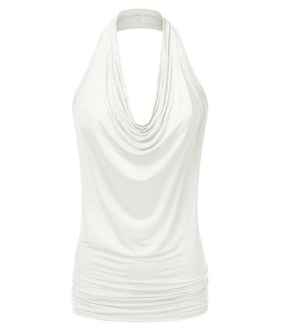 Sleeveless Drop Neck Slim Chiffon Blouse