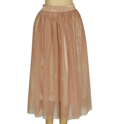 Double Layers Mesh Pleated Long Fluffy Beach Skirt