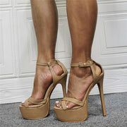 Khaki Open Toe Platform Cutout High Heel Sandals